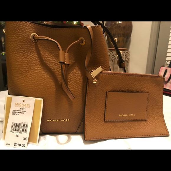 98f03fce530b Michael Kors Bags | Mk Cary Acorn Small Bucket Bag Leather | Poshmark